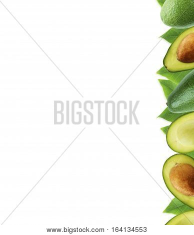 Fresh avocado with leaves on white background. Halves of fresh avocado at border of image with copy space for text.
