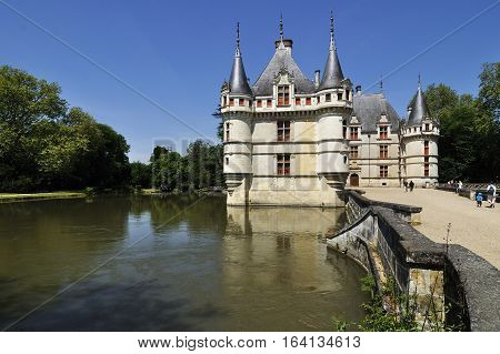 The chateau de Azay-le-Rideau FRANCE-JUNE 2013: This castle is located in the Loire Valley was built from 1515 to 1527.