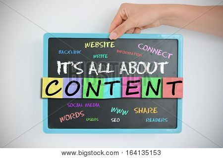 Content management system or CMS concept on blackboard