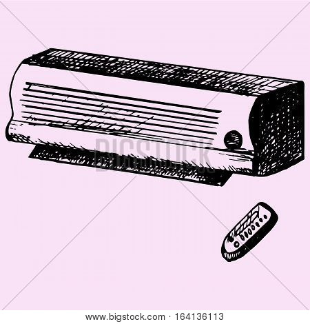 Air conditioner remote control, doodle style sketch illustration hand drawn vector
