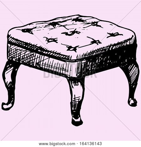 footstool ottoman doodle style sketch illustration hand drawn vector