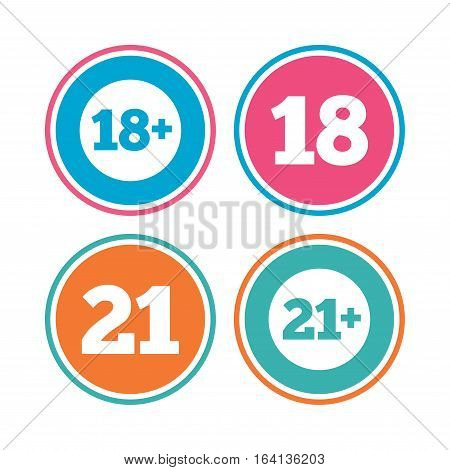 Adult content icons. Eighteen and twenty-one plus years sign symbols. Colored circle buttons. Vector