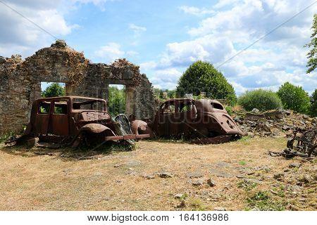 ORADOUR SUR GLANE , FRENCH DESTROYED VILLAGE , 10 JUNE 1944