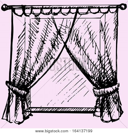 window frame with curtain doodle style sketch illustration hand drawn vector