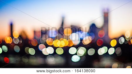 out of focus blury bokeh city skyline lights