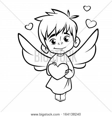Illustration of outlined baby cupid hugging a heart . Cartoon coloring illustration of Cupid character for St Valentine's Day isolated on white