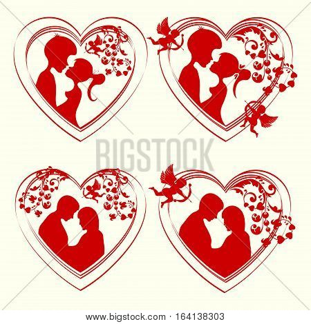Set of silhouettes of lovers man and woman snuggled up to each other inside the heart