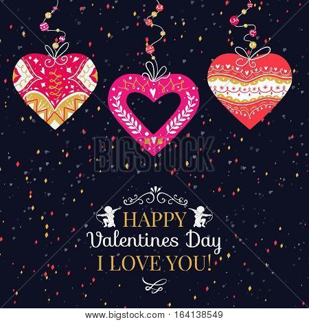 Holiday and Valentines Day hand drawing greeting card