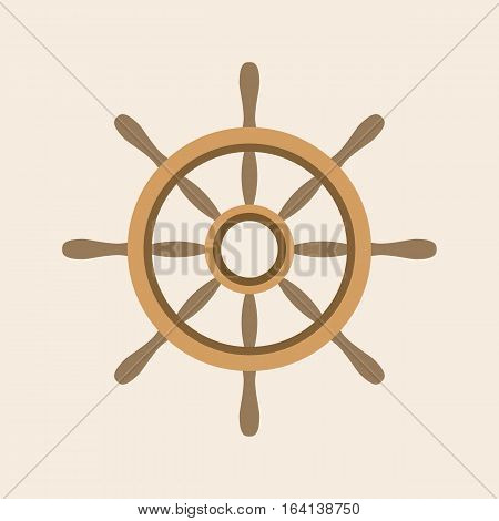Vector wooden helm icon, isolate flat design