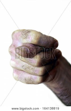 Fig sign close up isolated on white background. Hand gesture