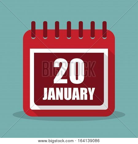 Calendar with 20 january in a flat design. Inauguration Day