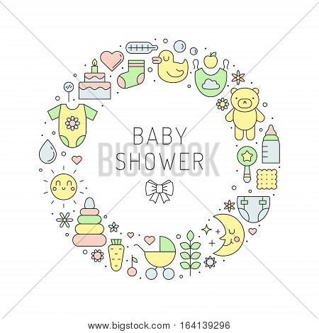 Baby shower (girl and boy) cute outline vector circle illustration. Clean and simple design