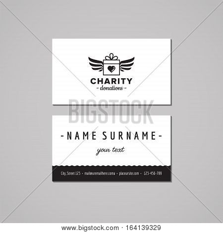 Donations and charity business card design concept. Logo with gift box and wings. Vintage hipster and retro style.