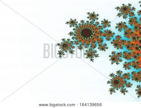 Bright brown and azure decoration on white background with light gradient