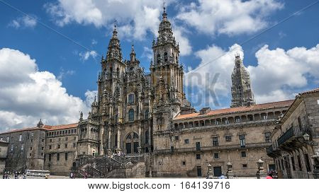 Cathedral of Santiago de Compostela , Spain. Clear sunny day , the sky white clouds float .