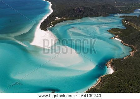 Hill Inlet Whitsunday Island at the tip of Whitehaven Beach Queensland Australia. Aerial View