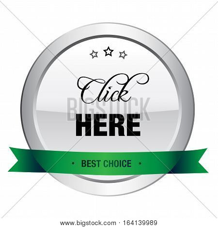 Click here seal or icon. Silver seal or button with stars and green banner.