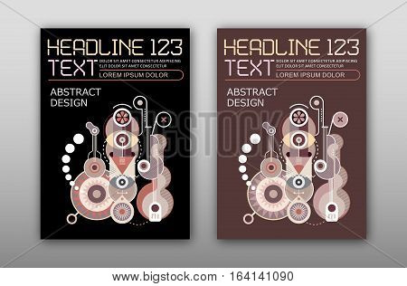 Abstract Design poster template magaine mock up. Two options of abstract art composition.