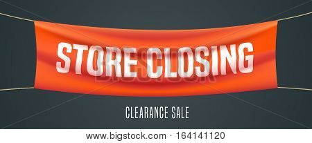 Store closing vector illustration background. Template banner design element for clearace sale