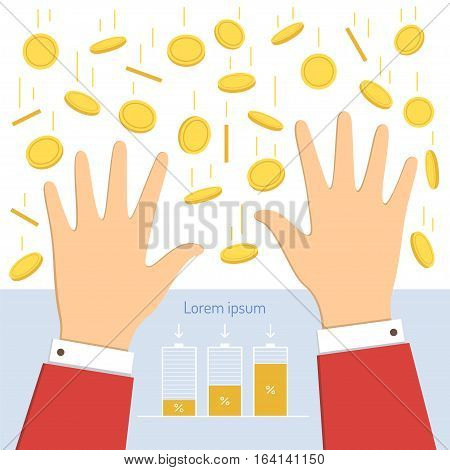 Falling money and raised up hands of businessman.Savings accumulation schedule. Vector illustration business concept in flat design.