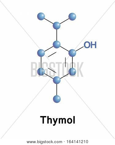 Thymol, IPMP, is a natural monoterpene phenol derivative of cymene, isomeric with carvacrol, found in oil of thyme, and extracted from Thymus vulgaris