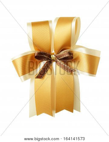 Golden Ribbon Bow isolated on white Background clipping path