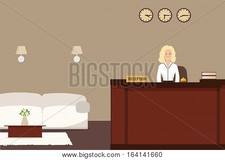Hotel reception. Young woman receptionist stands at reception desk. There is a white sofa and table with flowers also in the picture. Travel, hospitality, hotel booking concept. Vector illustration
