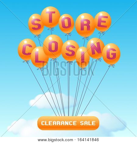 Store closing vector illustration background with balloons. Template banner design element for clearance sale