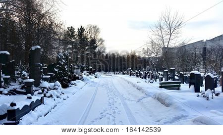 City Cemetery In The Snow