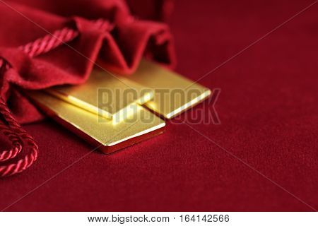 Gold Bar in Velvet Pouch with Space for Text