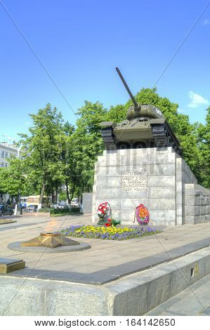 ORYOL RUSSIA - May 15.2012: Monument to the tankers World Square in memory of the liberation of city