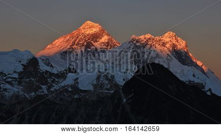 Mount Everest and Nuptse at sunset. View from Gokyo Ri.