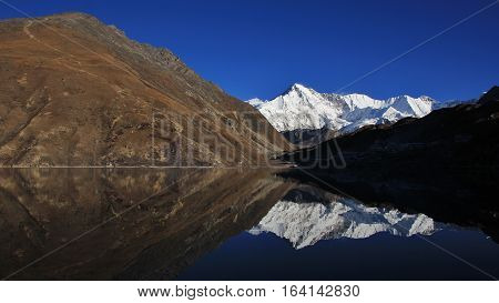 Morning scene at Gokyo lake Everest National Park Nepal. Gokyo Ri and Cho Oyu.