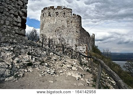ruins of Devicky castle in Palava mountains above Nove Mlyny water reservoir in South Moravia near borders with Austria