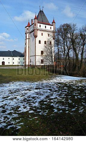 Bila vez tower in chateau garden in Hradec nad Moravici near Opava city in Czech republic