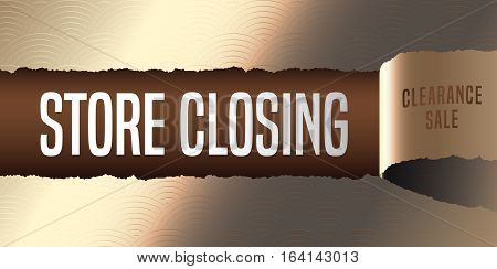 Store closing vector banner illustration flyer poster. Elegant template design element with golden paper tear off for clearance sale