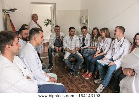 KIEV REGION, UKRAINE - May 12, 2016: Students at a lecture in the hospital.