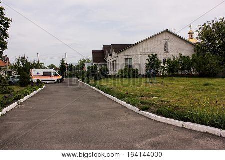 KIEV REGION, UKRAINE - May 12, 2016: ambulance on the street