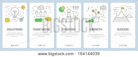 Vector set of vertical banners with solutions, team work, strategy, growth and success concept elements. Thin line flat design symbols, icons for website menu, print.