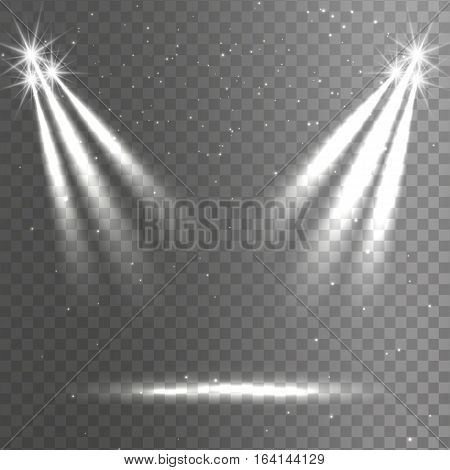 White lights dim light illuminating the podium a set of various shapes and projections gleaming in the darkness abstract banner vector illustration. Transparent background
