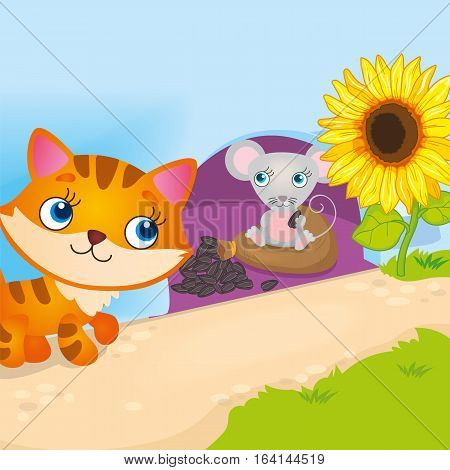 Vector illustration of mouse hiding from a cat in a hole