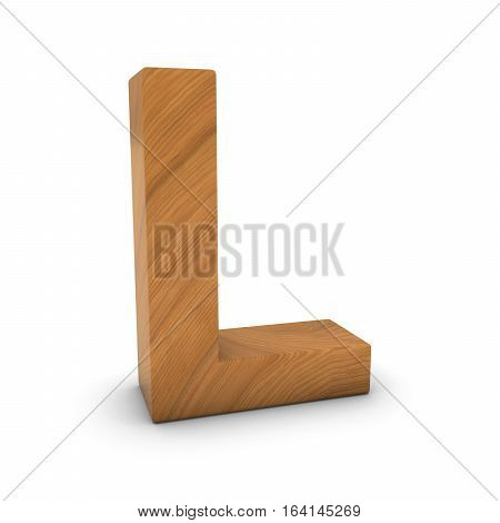 Wooden Letter L Isolated On White With Shadows 3D Illustration