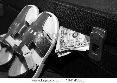 Sandals suitcase and money retro bag travel
