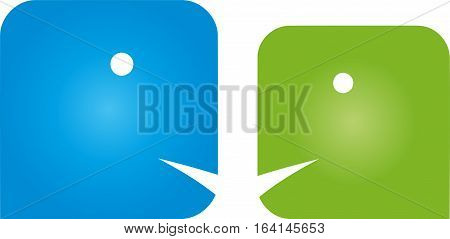 Two people, faces, communication and people logo