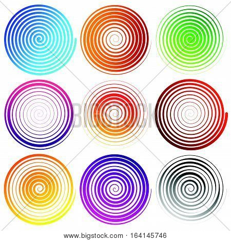 Set Of 9 Spiral Elements. Swirls, Swooshes.