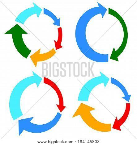 Set Of 4 Version Circular Arrow, Circle Arrow Elements