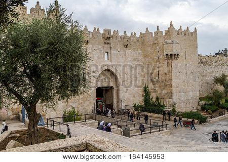 JERUSALEM, ISRAEL - DECEMBER 8: Damascus Gate or Shechem Gate, one of the gates to the Old City of Jerusalem, Israel on December 8, 2016