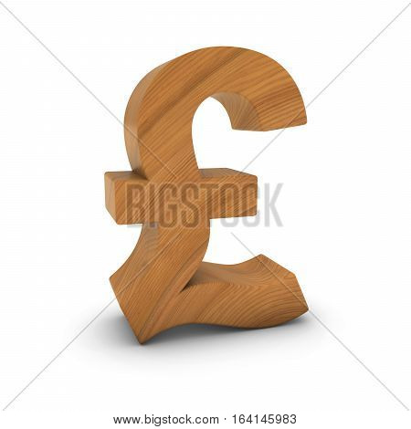 Wooden Pound Sign Isolated On White With Shadows 3D Illustration