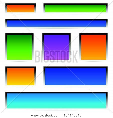 Set Of Banner / Button / Plaque Backgrounds With Frames
