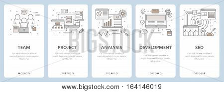 Vector set of vertical banners with team, project, analysis, development and seo concept elements. Thin line flat design symbols, icons for website menu, printing.